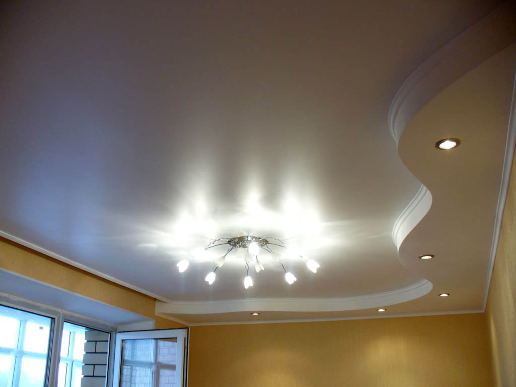 двухуровневые гипсокартонные потолки