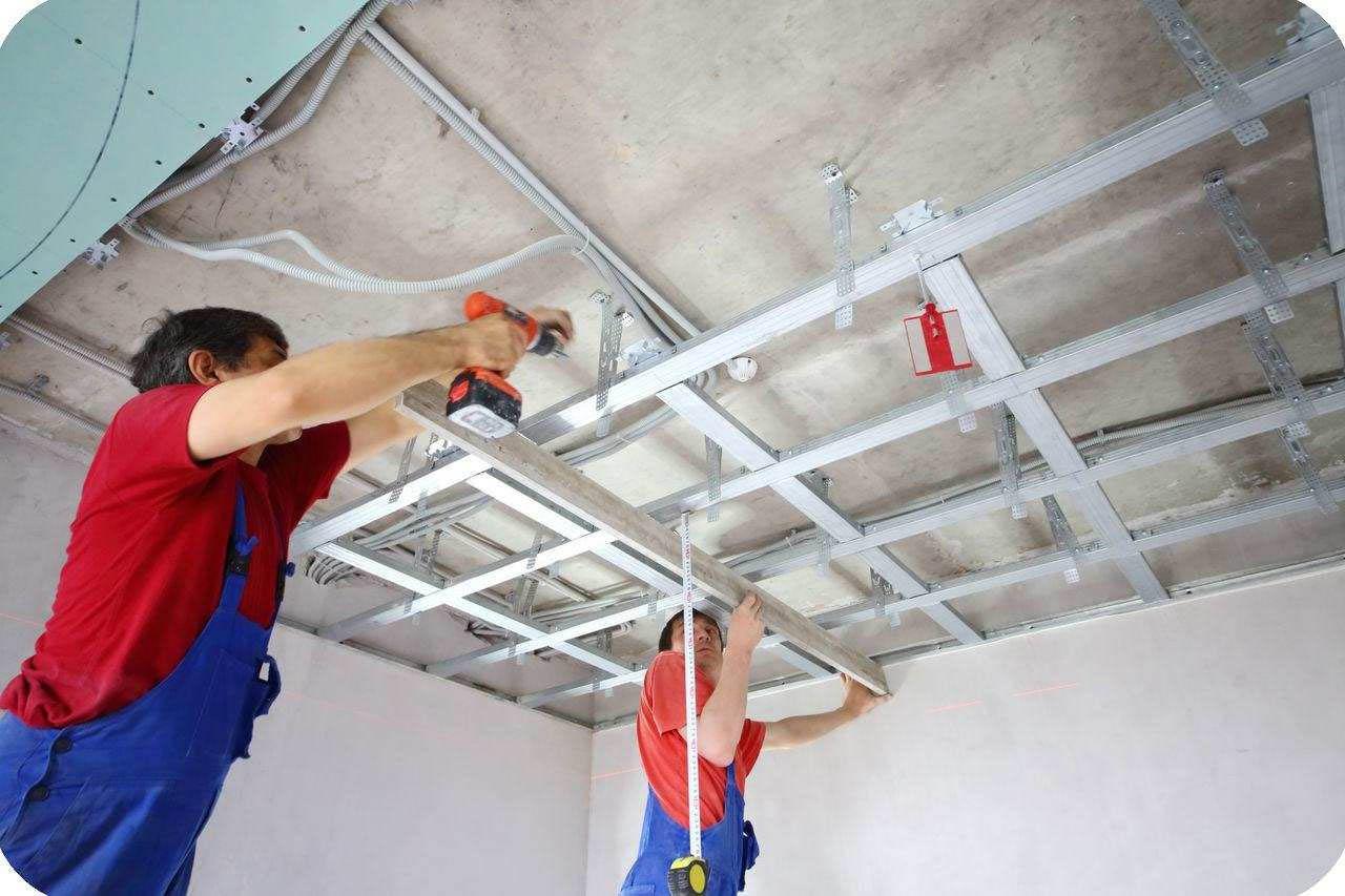подвесные потолки из гипсокартона цена установки