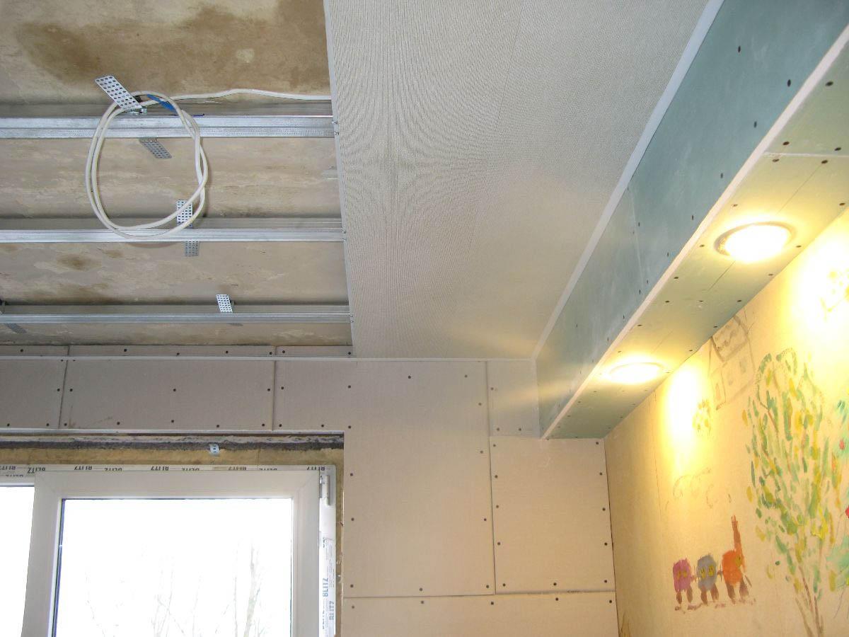 Как обшить потолок гипсокартоном своими руками с 318