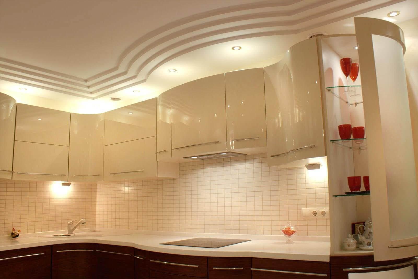Дизайн потолков из гипсокартона для кухни-фото самые лучшие