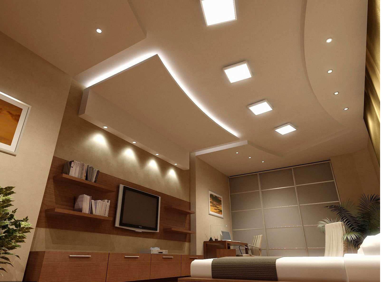 Потолок из гипсокартона с подсветкой своими руками 72
